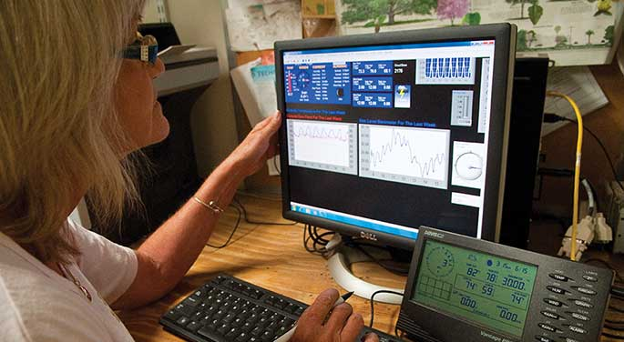 Kim Hutton with a computer monitor displaying data from the weather station.
